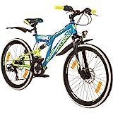 Galano 24 Zoll MTB Fully Adrenalin DS Mountainbike STVZO Jugendfahrrad, Farbe:Blau/Grün