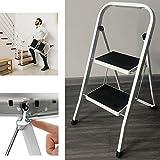Trittleiter Klapptritt weiß, 2-stufig Stehleiter klappbar, Haushaltsleiter Stufenleiter...