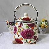 No brand Coffee Set emailliert 3.3l Orzo Kettle Rose Warmhalteplatte Gaskocher Universal...
