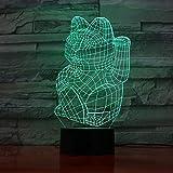 3D-Nachtlicht LED-Nachtlicht 3D-Berührungssensor Dekoratives Licht Beckon Cat Kindertischlampe...