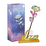 Aokebeey Rose Konservierte 24K Galaxy Blumen mit Licht und Präsentationsständer Kreative Geschenk...