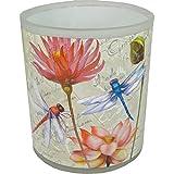 PPD 31003 Teelichthalter aus Milchglas, Blumenmuster, Mehrfarbig