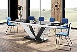 Design Esstisch Tisch HEU-111 Hochglanz ausziehbar 160 bis 256 cm (Schwarz - Weiß Hochglanz)