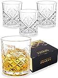 Praknu Whisky Gläser 4er Set mit Geschenkbox - Edles Kristallglas 300ml - Whiskey Glas zum...