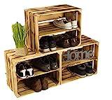 3 x Schuhschrank Schuhregal aus geflammten Holzkisten Schuhablage für 12 Paar Schuhe als...