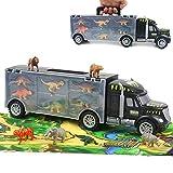 Dinosaurier LKW Spielzeug Transportfahrzeug Lastwagen mit Spielmatte 12 Stück Dino Figuren Tiere...