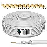HB-DIGITAL 25m Koaxialkabel HQ-135 Antennenkabel 135dB SAT Kabel 8K 4K UHD 4-Fach geschirmt für...