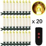 Weihnachtskerzen 10/20/30/40 Sets OZAVO, Christbaumkerzen mit Fernbedienung, kabellose Mini LED...