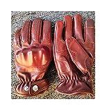 WBFN Herren Handschuhe für den gesamten Finger, Leder, Motorradhandschuhe, Leder, Coffee, S