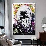 JHGJHK Wandgemälde Graffiti Cartoon AFFE Gorilla Kind Familienzimmer Dekoration Ölgemälde 2