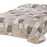 Delindo Lifestyle Tagesdecke Bettberwurf Herzen fr Einzelbett, Patchwork braun, 140x210 cm