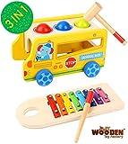The Wooden Toy Factory - 3 in 1 Xylophon und Hammerspiel, Klopfbank und Bus mit 4 Rder aus Holz, ab...