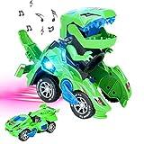 CestMall Transforming Dinosaur Led Car, Transformers Spielzeug Mit Licht Und Soundfunktion,...