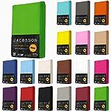 Jacobson Jersey Spannbettlaken Spannbetttuch Baumwolle Bettlaken (90x200-100x200 cm, Anthrazit)