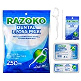 Zahnseide Sticks,250 Stück Einwegzahnseide Dental Floss Zahnpflege Interdental Flosser mit...