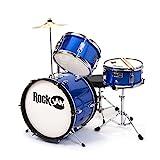 RockJam RJ-103MB 3-Teile Junior Schlagzeug-Satz mit Crash-Becken (Trommelstecken, einstellbarer...