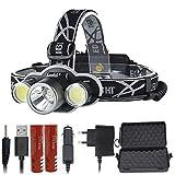 LIMQ Scheinwerfer Wiederaufladbare 18650 LED Scheinwerfer 10000LM Stirnlampe XM-L T6 Taschenlampe...