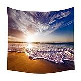 BAIBAOXIANG Landschaft Sonnenuntergang Tapisserie Wandbehang Heimtextilien Sandy Beach Picknick...