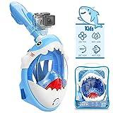 Tauchermaske Vollmaske für Kinder mit Anti-Fog und Anti-Leck Technologie, Schnorchelmaske mit...