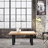 WOMO-DESIGN Couchtisch 100x60x47 cm aus Massivholz Mangoholz mit Metallgestell, Industrial Design,...