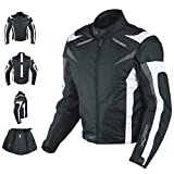 A-Pro Motorcycle Jacket CE Armored Textile Motorbike Racing Thermal Liner White S