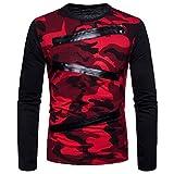 SALEBLOUSE Herren Langarm Sportlich Slim Fit Atmungsaktiv Sweatshirt Camouflage Hemd Uniform Shirt...