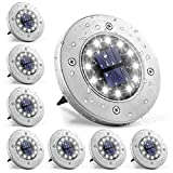 GIGALUMI Solar Bodenleuchte 12 LEDs 8 Stück Solarleuchten Weiß Gartenleuchten Edelstahl...