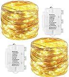 2 Stück Lichterkette 10M 100 LEDs Lichterketten Außenbeleuchtung 8 Modi Batteriebetrieben...