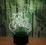 new 3D Illusion Dekorative Nachtlicht Stunt Cross-Country Motorrad 3D Licht Bunte Touch LED Visuelle...