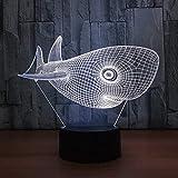 Weihnachtsgeschenke Gaming Lights Netter Kopf Hai USB Tischlicht Nachtlicht 3D Lampe LED Licht...