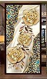 MYLOOO Tür Fototapete 3D Rosen-Luxusmuster Dekorfolie Selbstklebend Tapete, Tür-Aufkleber,...