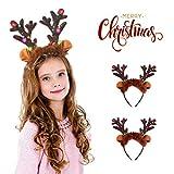 Sporgo LED Weihnachts Haarreif,2 Stück haarreif mit LED Beleuchtung, Weihnachtsgeweih, Kopfschmuck,...