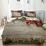 NR Bettwäsche-Set Mikrofaser,Weihnachtstannenbaum und -Bowknot auf Land-Holz-Planke,1 Bettbezug...