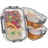 GLASWERK Frischhaltedosen Glas (3 Stück - 1040ml) - auslaufsichere Meal Prep Boxen -...