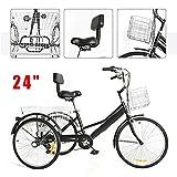 Jintaihua 24'' 7 Gang Räder Dreirad für Erwachsene mit 2 Einkaufskorb, Höhenverstellbar...