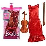 Barbie GRC53 Karriere Mode, Fashion Set - Musikerin mit rotem Glitzerkleid und Violine, ab 3 Jahren