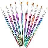 10 Pinsel Rainbow Set - Gelpinsel, Fineliner & Acryl für Nagelmodellage und Gelmalerei