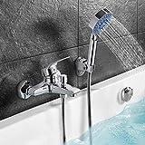 Stilvolle Badewannenarmatur Dusche set, Handbrause mit 5 Strahlarten, WOOHSE Wannenarmatur Badewanne...