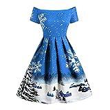 JMCWAN Damen Kleid, Vintage-Druck, Schulterfrei, Abendkleid, Party, Herbst und Winter, A-Linie,...