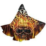 OKME Custom Cape Hexe,Flaming Skull Dartboard-Umhang Mit Kapuzenumhang Für Hexenzauberer-Kostüme...