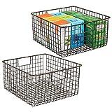 mDesign 2er-Set Allzweckkorb aus Metalldraht – flexibler Aufbewahrungskorb für die Küche,...