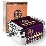 NTOLA 3-in-1 Brotdose Edelstahl Kinder | 1550ml Lunchbox aus Metall | Auslaufsicher & klimaneutral |...