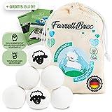 Farrell Brec [6 XXL] extra langlebige Trocknerbälle für Wäschetrockner - natürlicher...