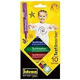 Idena 60035 - Textilmarker für helle Stoffe, 10 Textilstifte in leuchtenden Farben, Ideal für...