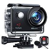 Victure Touchscreen-Actionkamera 4K 60FPS mit 8-fachem Zoom, Doppelmikrofon, Fernbedienung,...