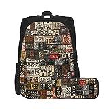 SDBUYW-ZQ Schulrucksack,USA Retro Auto Nummernschild Druck, Bookbags für Kinder Teens...