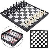 Peradix Schachspiel Magnetisch Dame Spiel Backgammon 3-in-1, Schach Magnetischem Reise Faltbarem...