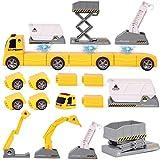 m zimoon Baufahrzeuge Spielzeug, 13 Stück Ingenieurwesen Magnetisches Auto LKW Spielset mit...