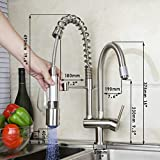 RTTGOR Wasserhahn Küchen-LED-Licht Pull-Down-Nickel gebürstetem Tinte Einhand-Wasserhahn Schiff...