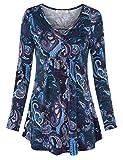 BAISHENGGT Damen Henleyshirt Longtee Langarmshirt V-Ausschinitt Tunika Vintage Violett Blumen XL